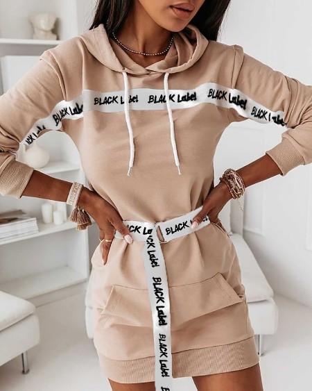 Letter Print Hooded Pocket Front Dress With Belt