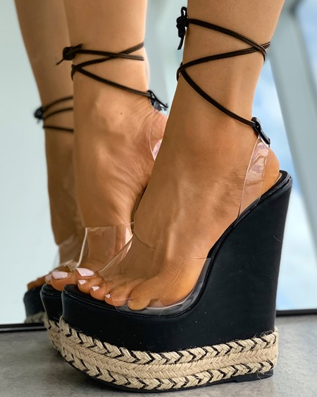 Clear Perspex Strappy Colorblock Wedge Shoes