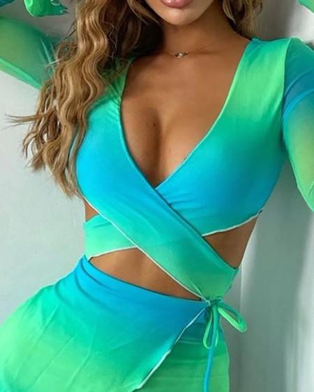 Ombre Colorblock Bandage Cutout Crop Top & Frill Hem Skirt Set