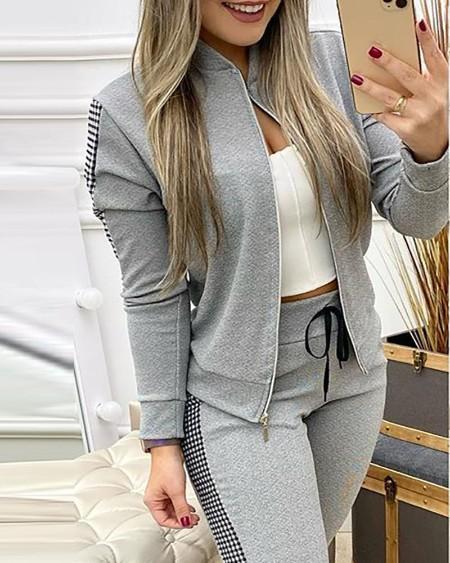 Contrast Plaid Jacket & Drawstring Pants Set