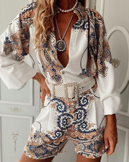 Graphic Print Long Sleeve Buttoned Top & Shorts Set