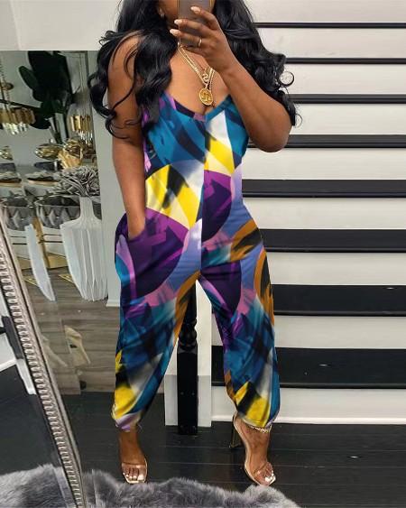 Floral Print Pocket Design Sleeveless Jumpsuit