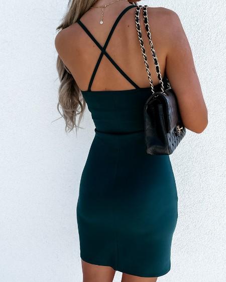 Solid Color Skinny Waist Sling Commute Mini Dress