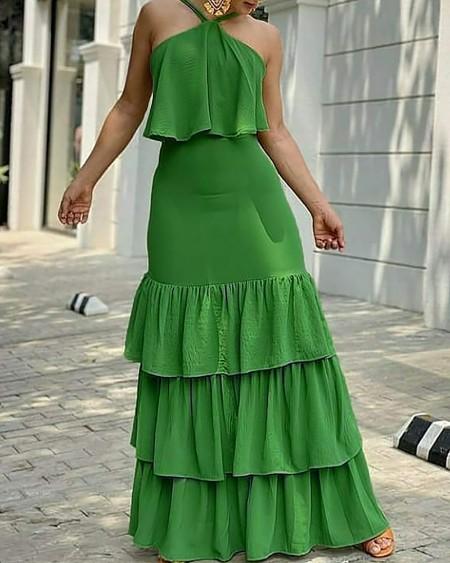 Halter Layered Ruffles Sleeveless Maxi Dress