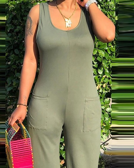 Pocket Design Thick Strap Solid Jumpsuit