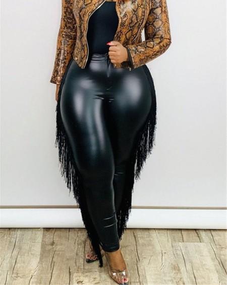 Plus Size Fringe Trim Skinny PU Leather Pants