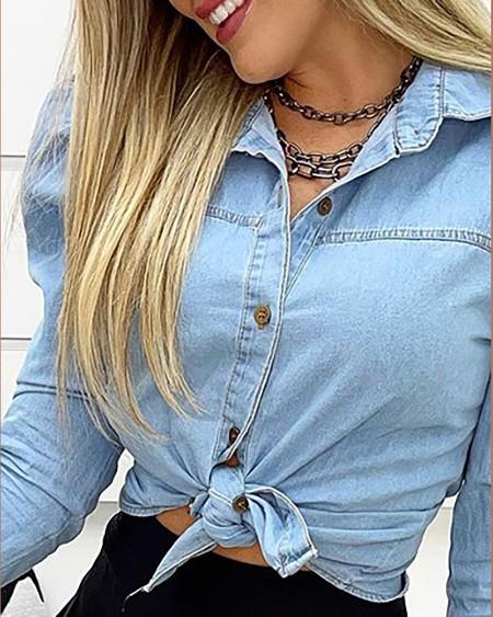Camisa de ganga casual com manga bufada frontal com botões simples gola virada para baixo top casual