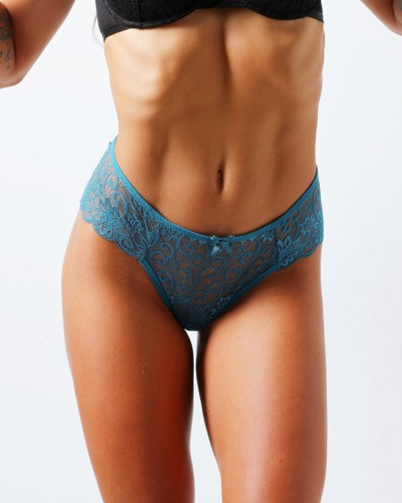 Lace Splicing Bow Skinny Panties