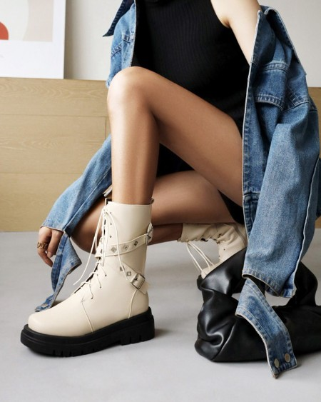Womens Cross Straps Decoration Round Toe Lace-up Motorcycle Boots