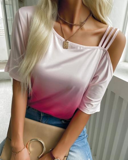 Ombre Colorblock Asymmetrical Neck T-shirt