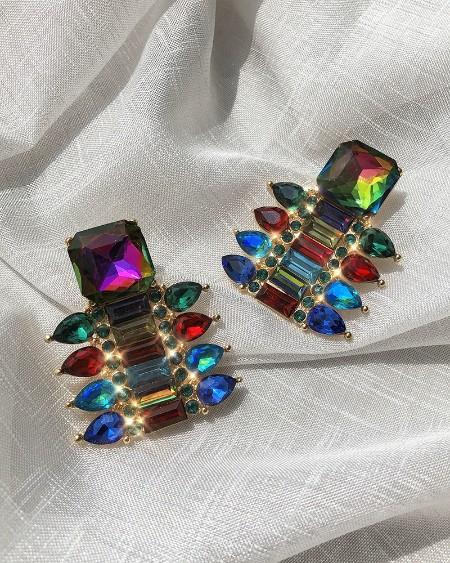 1Pair Colorful Rhinestone Waterdrop & Geo Shaped Earring