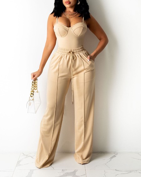 Zipper Back Cami Top & Wide Legs Contrast Pipping Pants Set
