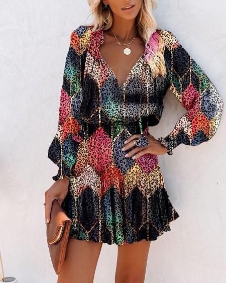 Multicolor Leopard Long Sleeve Skinny Waist Women Dress