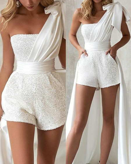 Sequin Tube Romper With Knot Shoulder Maxi Dress