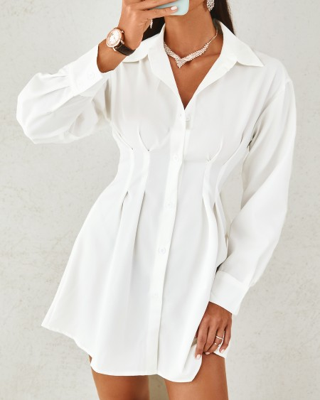 Solid Color Long Sleeve Shirt Dress