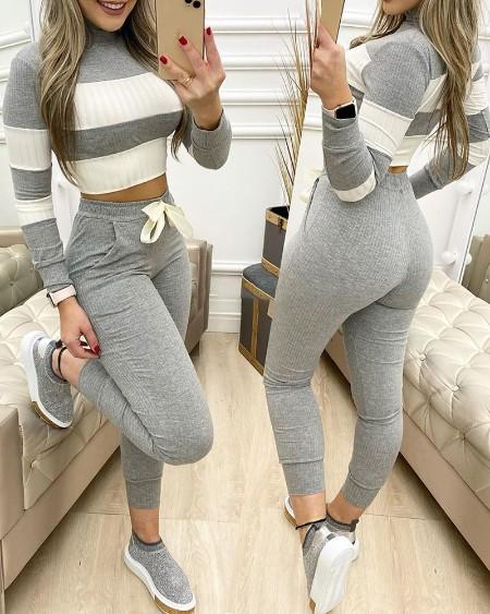Colorblock Long Sleeve Crop Top & Drawstring Pants Set