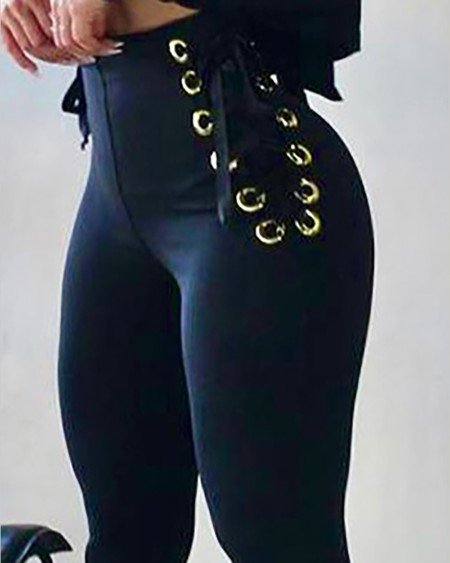 High Waist Eyelet Lace-up Tied Detail Skinny Pants