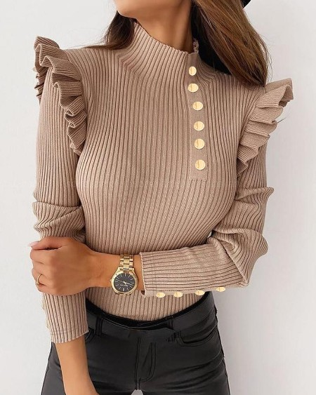 Ruffles Long Sleeve Button Decor Sweater