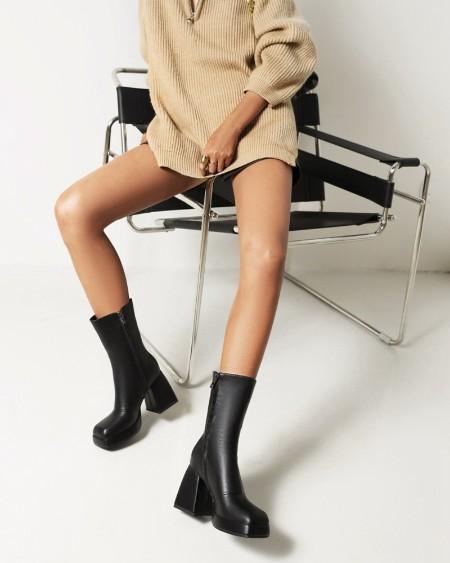 Womens Side Zip Up Square Toe High Chunky Heel Booties