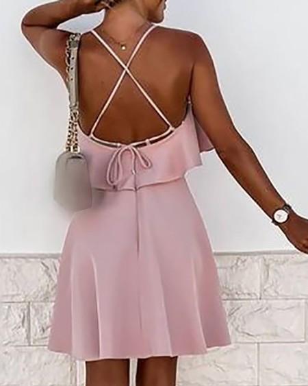 Ruffles Crisscross Tie Back Casual Dress