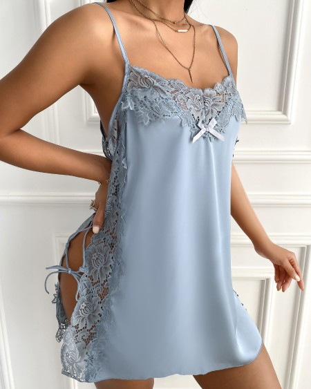 Side Lace-up Contrast Lace Satin Babydoll