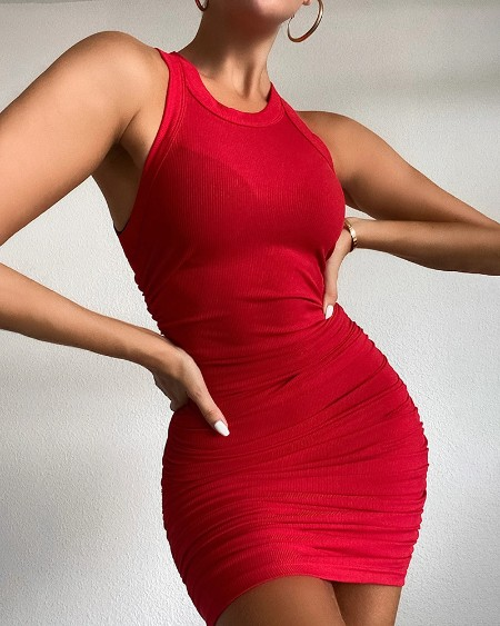 Ribbed Sleeveless Ruched Bodycon Dress