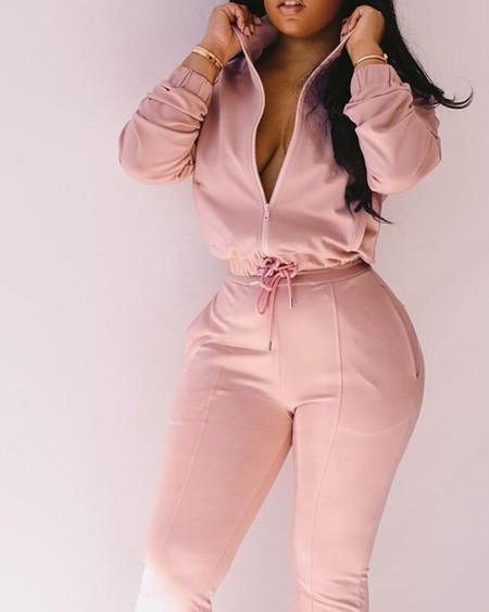 Drawstring Zip Up Stand Collar Top & Pocket Pants Set