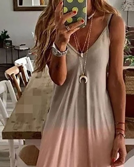 Ombre Colorblock V-Neck Casual Maxi Dress