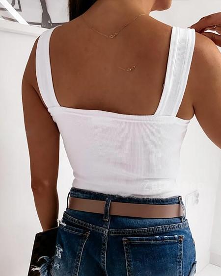 Thick Strap Backless Knit Plain Basic Tank Top