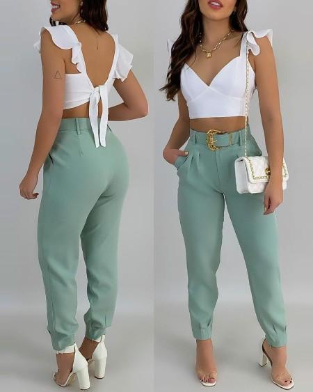 Ruffle Sleeve Top & Pocket Design Pants Set
