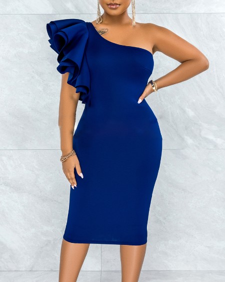 One Shoulder Ruffles Sleeveless Party Dress