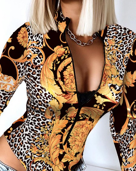 Baroque Cheetah Print Thumb Hole Skinny Bodysuit