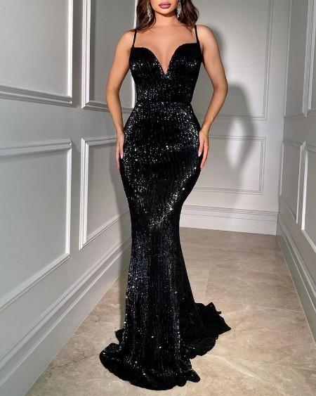 Spaghetti Strap Sexy Mermaid Sequin Dress