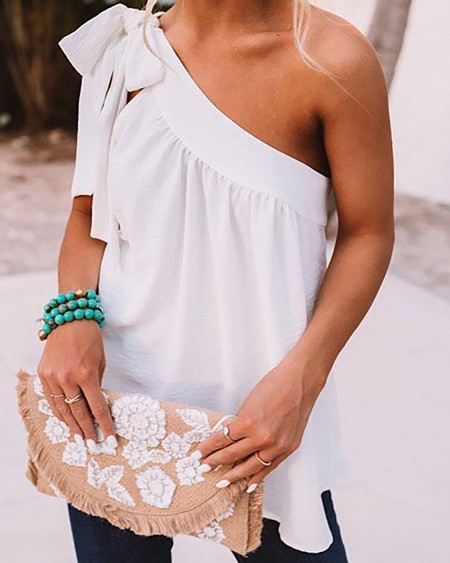 Solid Strappy Ruffles Patchwork Blouse Tanks