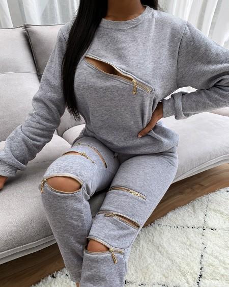 Zipper Design Long Sleeve Top & Pocket Design Pants Set