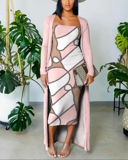 Scarf Print Tube Bodycon Dress With Longline Coat