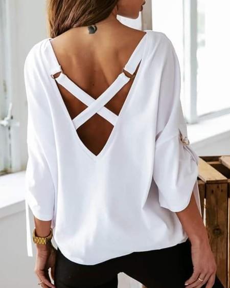 Bandage Backless Long Sleeve Top