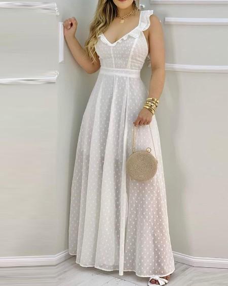 Ruffle Hem Open Back Slit Maxi Dress