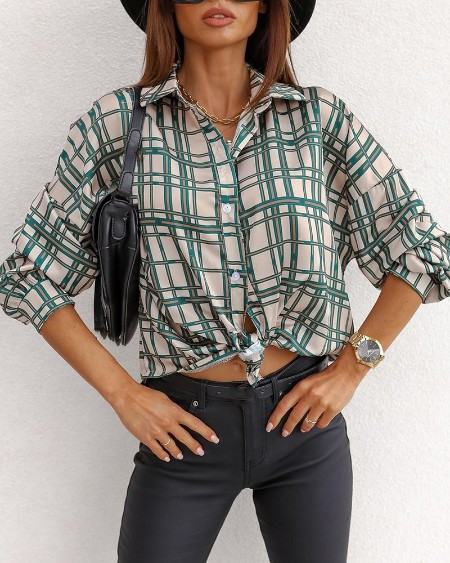 Plaid Print Long Sleeve Buttoned Shirt
