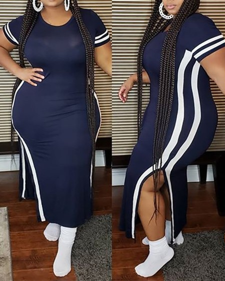 Plus Size Striped Print Maxi Slit Dress