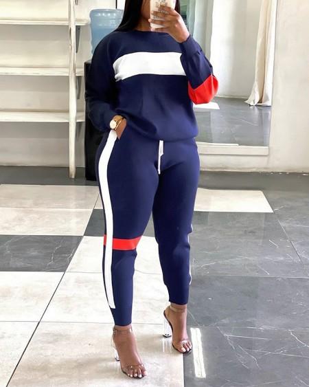 Colorblock Striped Long Sleeve Top & Drawstring Pocket Pants Set