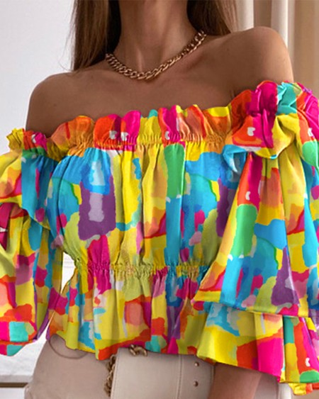 Tie Dye Off Shoulder Layered Shirred Top Casual Chic Ruched Daily Blouse& Shirt