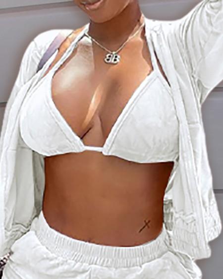 Velvet Long Sleeve Zipper Design Hooded Coat & Shorts Set With Bralette