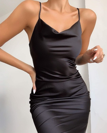 Plunge Neck Satin Mini Dress