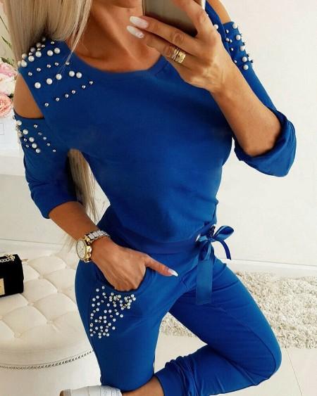 Pearls Decor Cold Shoulder Top & Pants Set