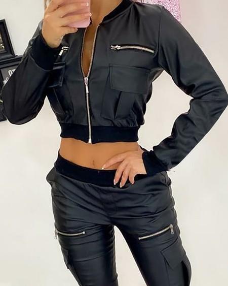 PU Leather Zipper Pocket Design Long Sleeve Jacket