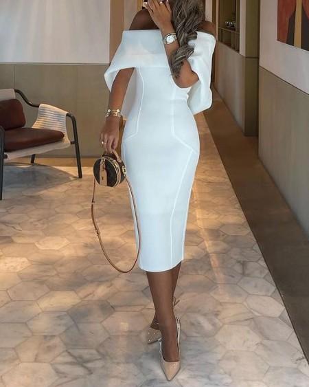 Off Shoulder Cape Design Skinny Party Dress