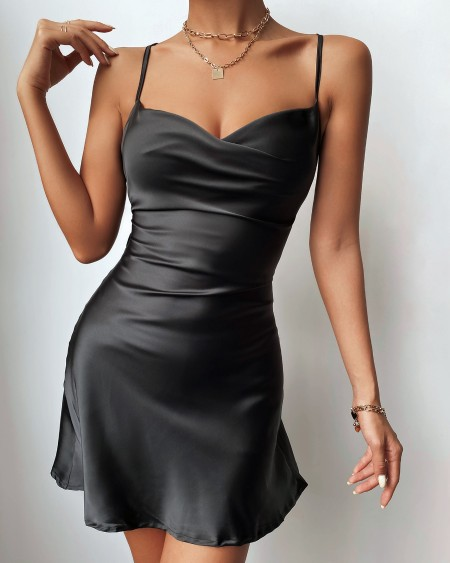 Ruched Crisscross Backless Satin Party Dress