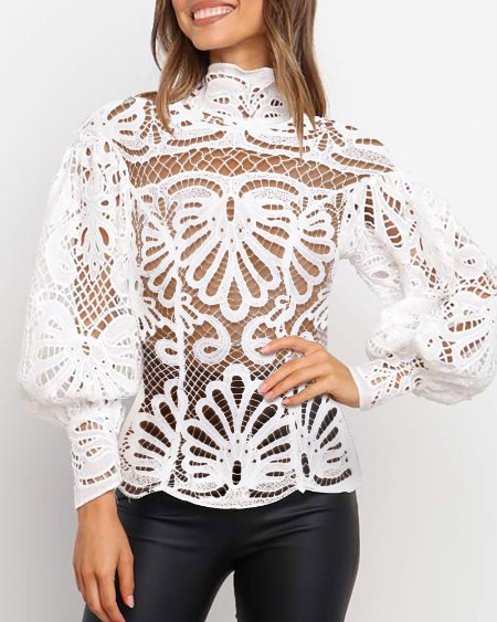 Hollow Out High Neck Lace Long Lantern Sleeve Top