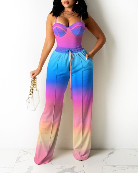 Ombre Colorblock Cami Top & Wide Legs Contrast Pipping Pants Set